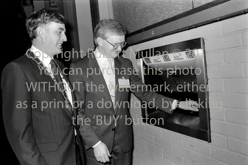 At the launch of Wicklow town's first ATM  Circa early 80s