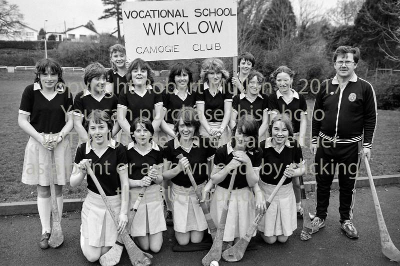 Wicklow Vocational Camogie team.  Circa 1980