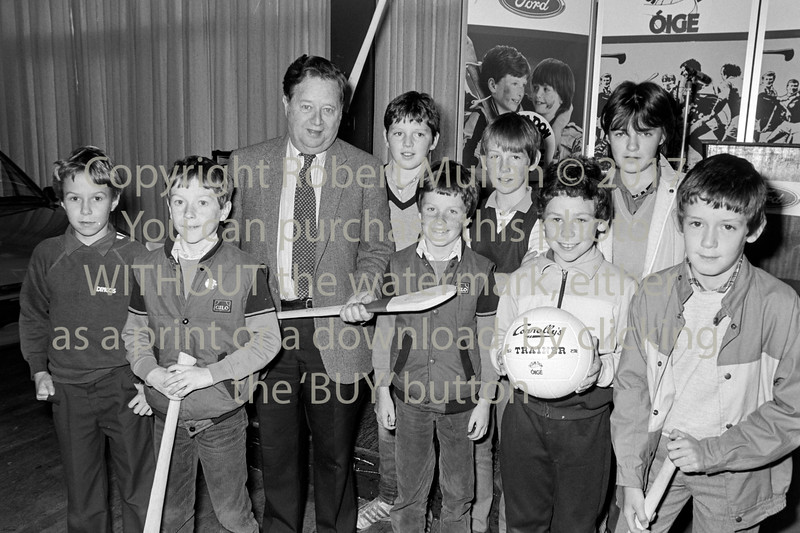 Broadcasting Micheal O'Heir with young hurlers in Wicklow - 1980s/90s