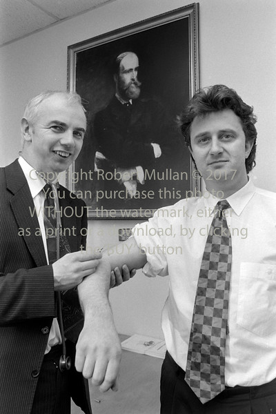 Flu injection for Cllr Tom Honan, Chairman of Wicklow County Council. Circa early 1990s