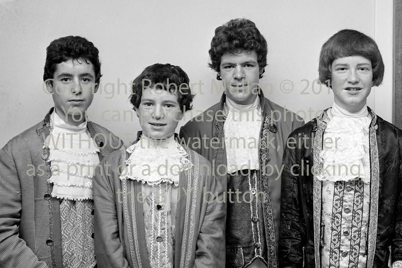 Taking part in 'The White Horse Inn'.  Date 1981