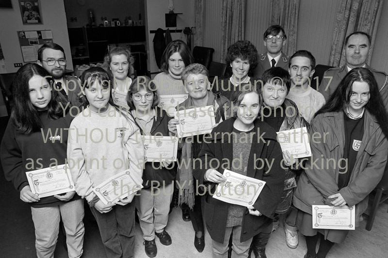 Presentation of first aid certs.  Circa 1993