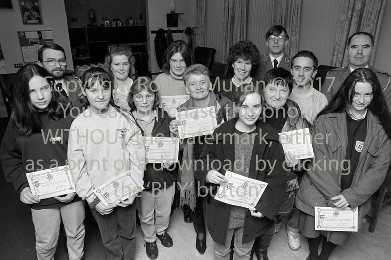Presentation of first aid certs.  Circa 1993