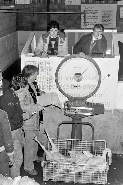Tony Delahunt selling turkeys at Ashford Mart - 1980s/90s