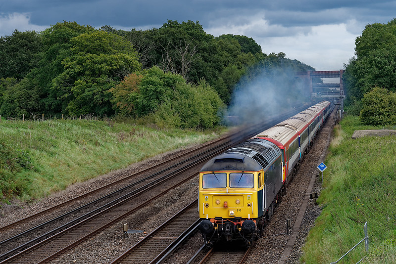 47815 hauling 442404 and 442409 as 5O86 / 09:06 Ely Papworth Sidings - Bournemouth T&RSMD. Shown passing Totters Lane, Potbridge, on 7th September 2017.