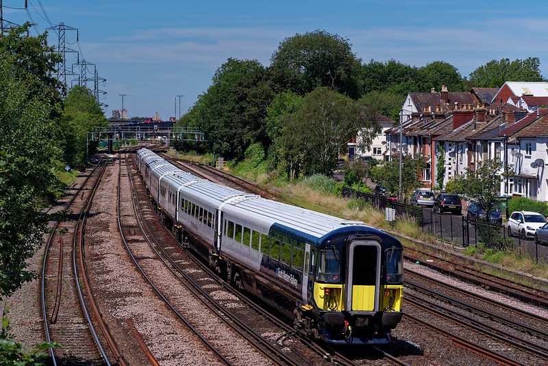 442414 and 442406 heading towards Millbrook with 5Q30, the 10:25 Fratton CSD - Bournemouth T&RSMD, crew training run on 4th July 2019.