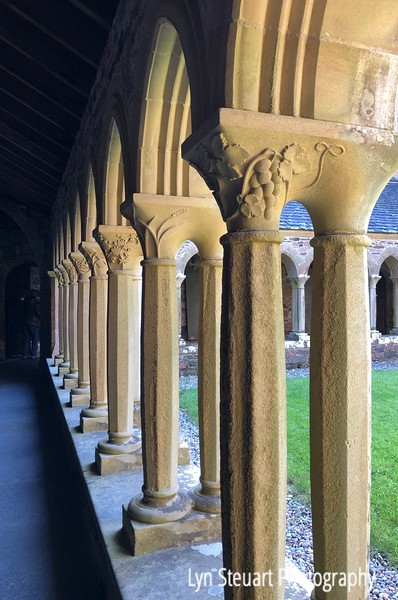 Decorated columns at the Cloisters of Iona Abbey