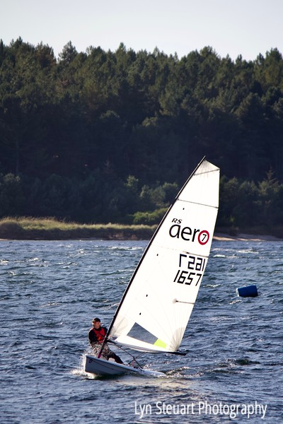 As the winds picked up this sailor enjoyed a wild ride in Findhorn Bay.