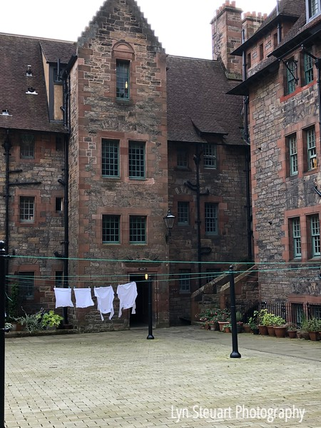 Laundry hanging to dry in Dean Village, Edinburgh - Can't imagine that clothes will dry outside!!!