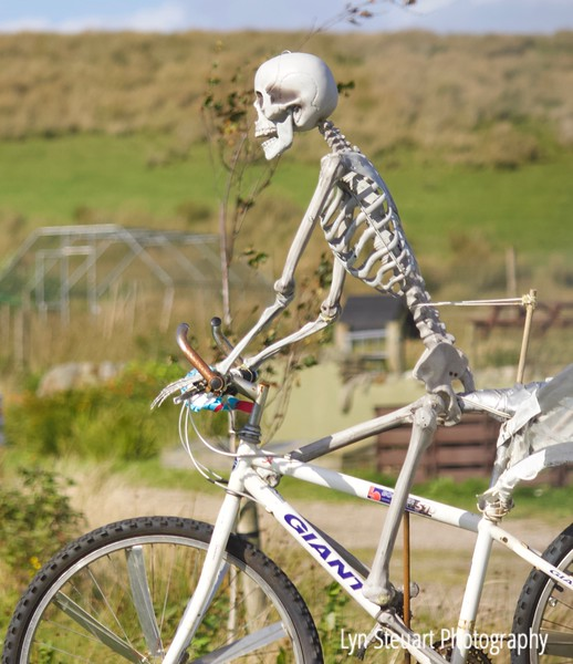 "One of a series of roadside ""scarecrows"" on the Isle of Mull"