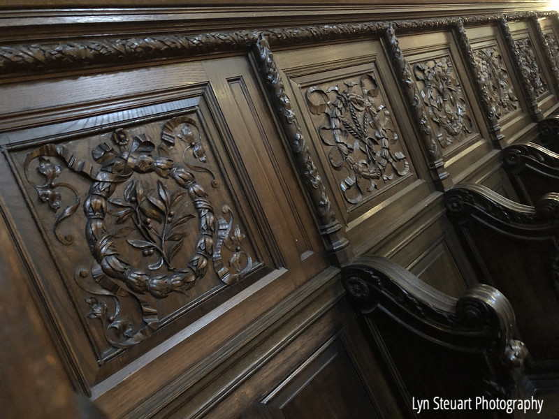 Wooden  choir stalls dating back to the Middle Ages in King's College Chapel, University of Aberdeen