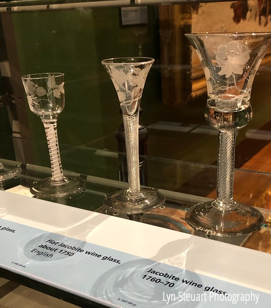 Jacobite wine glasses on display at the Kelvingrove Museum