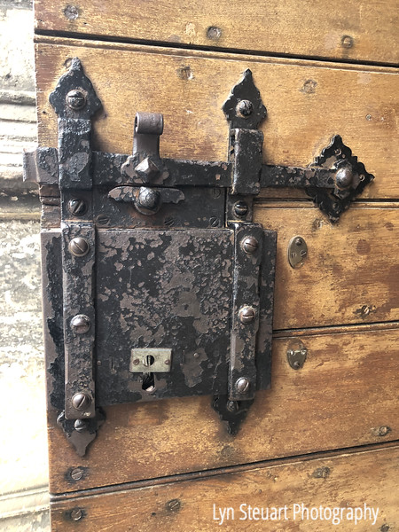 Door lock on a door at Rosslyn Chapel