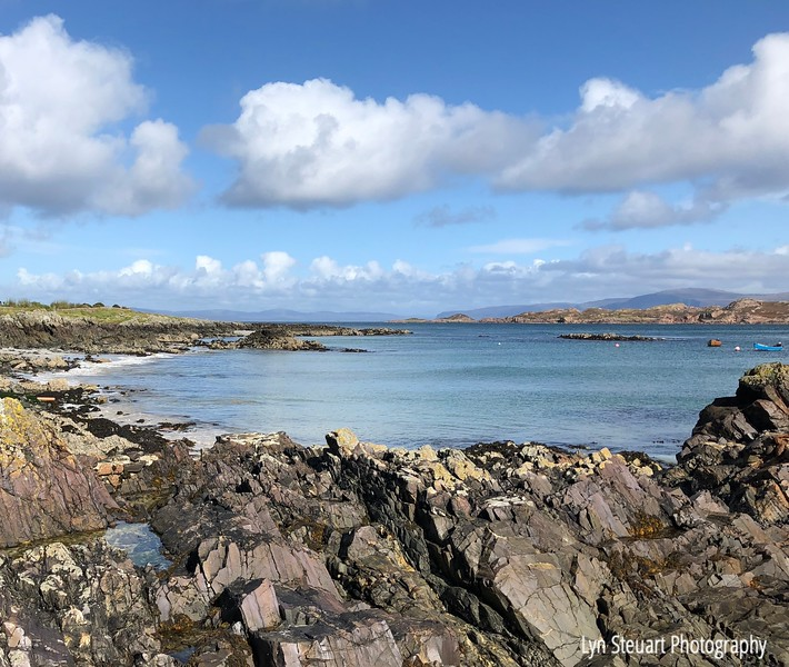 View from the rocky coastline on the Isle of Iona