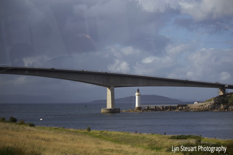 Drive by shot of the bridge to Isle of Skye