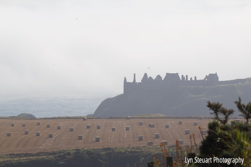 Dunnottar Castle appearing from the mist, Stonehaven, Scotland