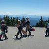 Snow boarders at Timberline lodge