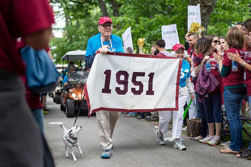 The Class of 1951, celebrating their 65th reunion, processes during the Reunion Parade.<br /> <br /> Reunion participants march with their respective class years in the annual Reunion Parade on Saturday June 11 2016.