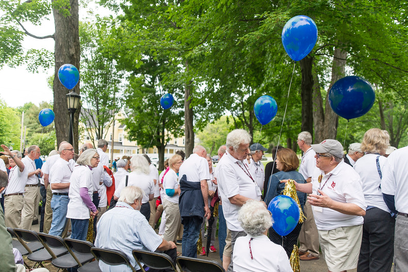 The class of 1951, celebrating their 65th reunion process during the annual Reunion Parade.<br /> <br /> Reunion participants march with their respective class years in the annual Reunion Parade on Saturday June 11 2016.