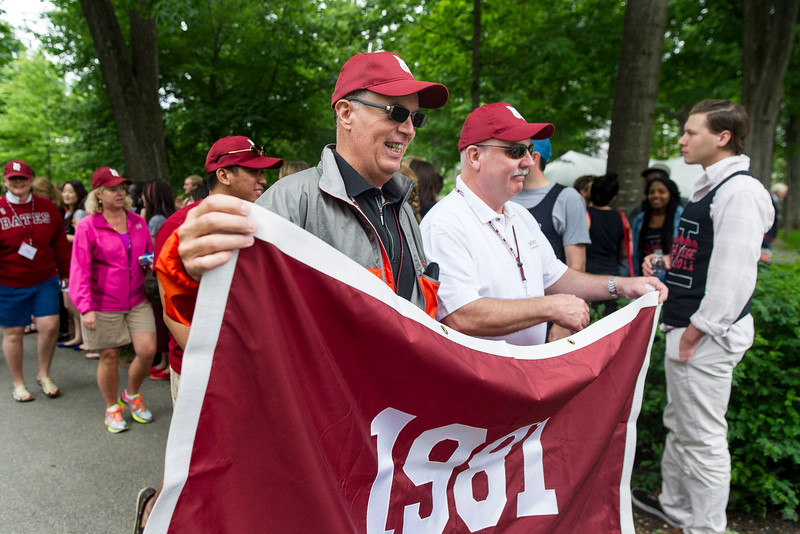 The class of 1981 processes during the parade.<br /> <br /> Reunion participants march with their respective class years in the annual Reunion Parade on Saturday June 11 2016.