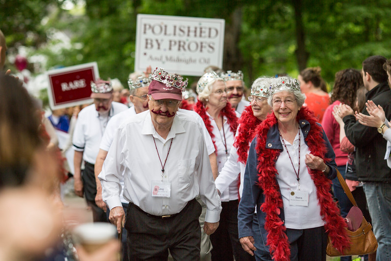 The class of 1956, celebrating their 60th reunion process during the annual Reunion Parade.<br /> <br /> Reunion participants march with their respective class years in the annual Reunion Parade on Saturday June 11 2016.