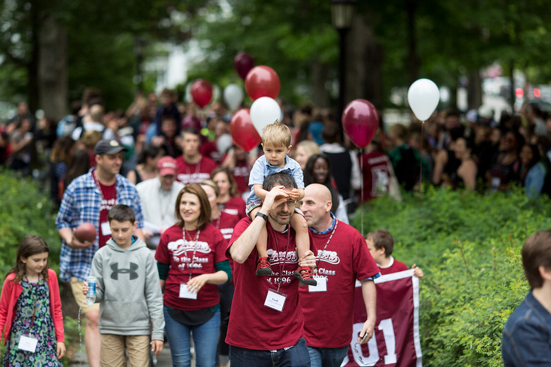 The class of 2001 processes during the parade.<br /> <br /> Reunion participants march with their respective class years in the annual Reunion Parade on Saturday June 11 2016.