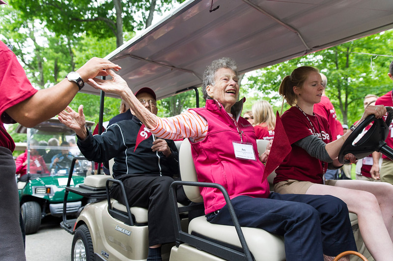 Jeanette Packard Stewart '46 (P '72) was a crowd favorite during the Reunion Parade.<br /> <br /> Reunion participants march with their respective class years in the annual Reunion Parade on Saturday June 11 2016.