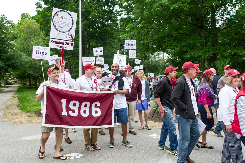 The class of 1986 processes during the parade.<br /> <br /> Reunion participants march with their respective class years in the annual Reunion Parade on Saturday June 11 2016.