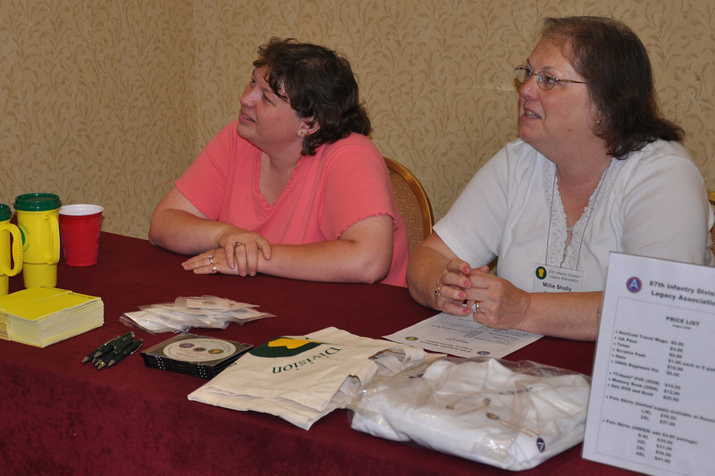 Tina and MIllie Sholley at the Quartermaster table.
