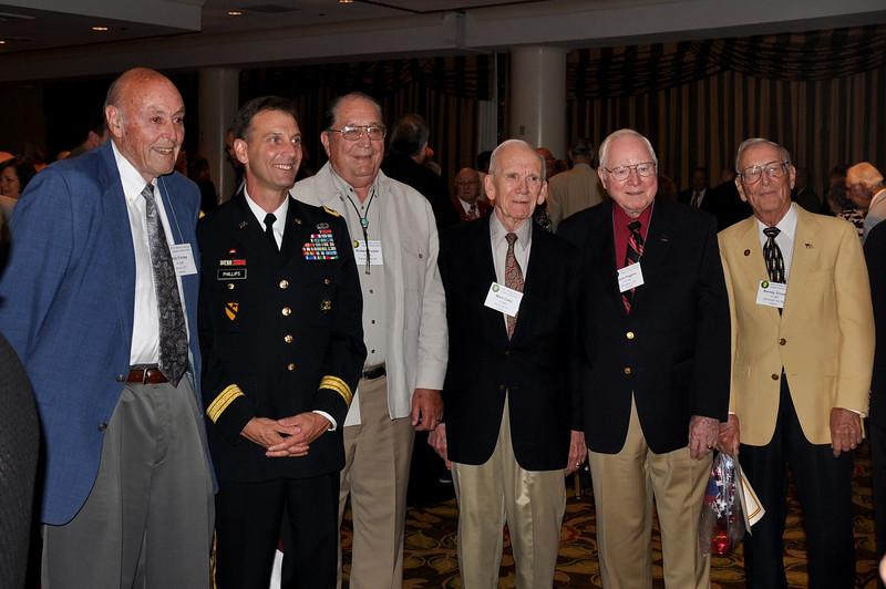 A-346 vets with Brigadier General Phillips - Bob Finlay, Bob Purple, Mark Cady, Jack Higgins, and Barney Zmoda.