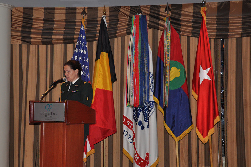 Lieutenant Colonel Martine Dierckx (Belgium) addresses the Association