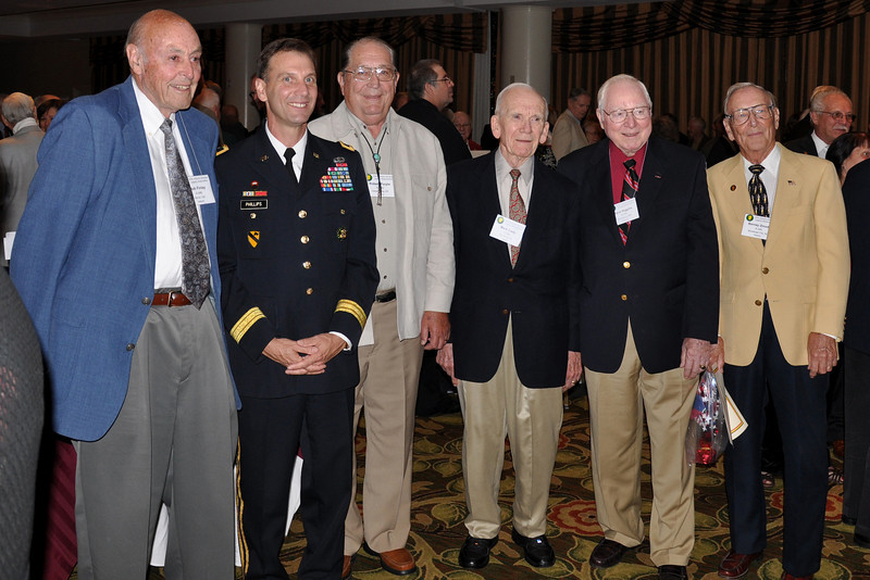 A-346 vets with Brigadier General Phillips - Bob Finlay, Bob Purple, Mark Cady, Jack Higgins, and Barney Zmoda.