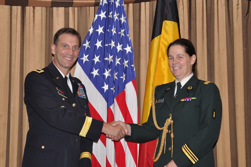 Brigadier General Jeffrey E. Phillips (USA) and Lieutenant Colonel Martine Dierckx (Belgium)