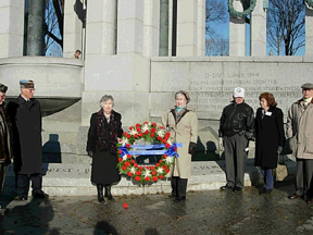 WW-II Memorial, Washington, DC<br /> 12-16-05<br /> <br /> Wives of the Battle of the Bulge Veterans place a <br /> wreath of tribute at the location dedicated to the <br /> Battle of the Bulge.
