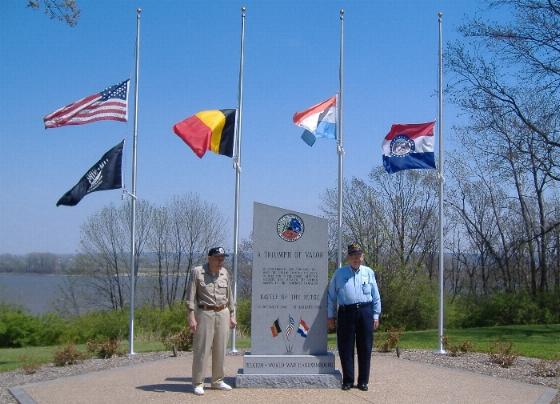 """Left:<br /> William """"Bill"""" B. Vogel;<br /> 77th A.A.A.<br /> <br /> Right:<br /> Phillip W. McKnight;<br /> 82nd Airborne <br /> 505th Paratroopers<br /> 325th Gliders<br /> 82nd Airborne WWII Historian"""