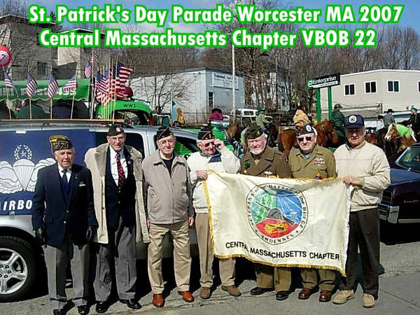 Members of the Central Mass. Chapter 22 VBOB who marched in the St. Partick's Day Parade on Sunday, March 11, 2007 in Worcester, MA.<br /> <br /> They also had two decorated vehicles.<br /> <br /> A great day for everyone! <br /> <br /> Mr. McAuliffe is the one who most looks like a leprechaun ... Stalwart and Strong!<br /> <br /> The names of the  Parade Vets in the Photo are Left to Right:<br /> <br /> John Risas;  US Air Force<br /> Herb Adams;  82nd Airborne Division<br /> Carroll Demoga (91 years old); 419 Med. Collection Company<br /> Patrick McGrath;  639th AA BN<br /> John McAuliffe;  87th Infantry Division<br /> Chester Wenc;  106th Infantry Division<br /> Francis Gaudere;  30th Infantry Division
