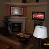 Gas fireplace & flat-screen TV on cable.