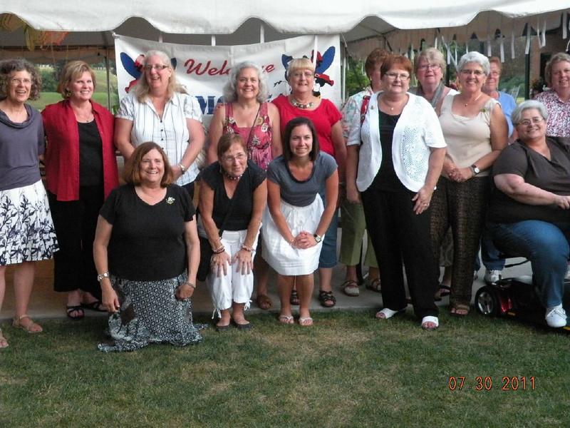 Kneeling Front Row Left to Right:<br /> Melinda Spence, Kathy Knight, Mary Caulfield (daughter of Tom Caulfield)<br /> Standing Front Row Left to Right:<br /> Suzanne Reitz (wife of Bill Kenney) Noreen Panadero, Bonnie (friend of Bennie Edens), Linda Forrest, Francine Knapp, Sue Massey, Anne Urbaczeewski, Ronnie Ruppert (cart)<br /> Standing Back Row Left to Right:<br /> Faye Quinlan, Margaret Caulfield, Janet Thomas, Chrissie Wright<br /> Not in the photo: Bert Wrinkle