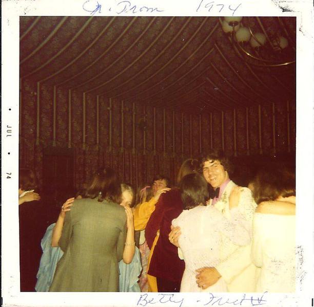 Fred Antrobus and Susan Farrel dancing at 1974 prom