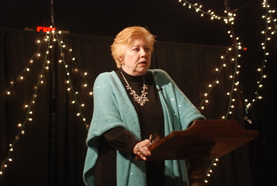 Rev. Diannia Baty speaking at the Black Box Theater in Salisbury, NC.