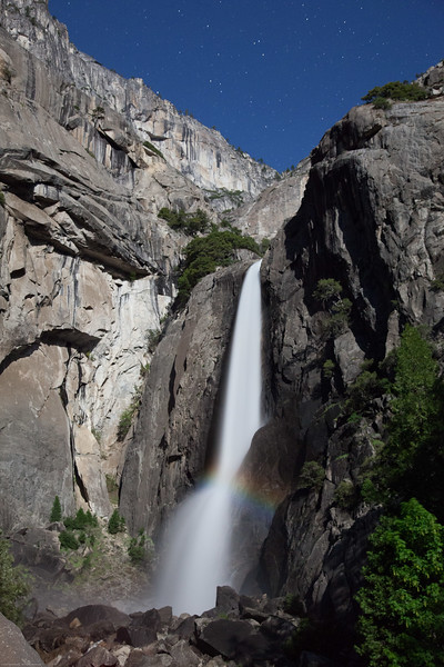 Falls at midnight with full moon - moonbow