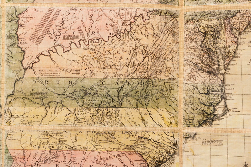 1755 map showing Carolina boarder reaching the Mississippi River and Virginia extending into the Ohio Valley.