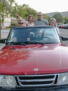 Rex Pickett (author of Sideways), Barbara Satterfield (Sta. Rita Hills Wine Alliance),  Kathy Joseph (Fiddlehead Cellars), and Frank Ostini (Hitching Post) in the Saab from the Sideways movie