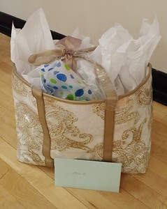 Lovely gift bag stuffed with goodies contributed by class members to keep Jan entertained, soothed, and happy while she is out recovering!