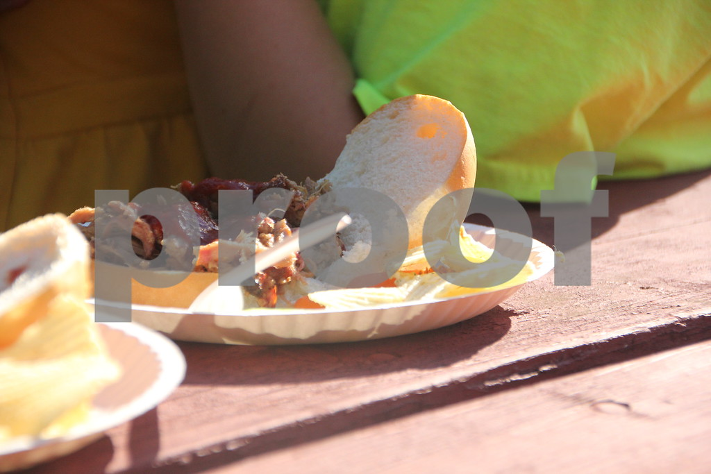 Some of the food served at the Reynold's Park ribbon cutting  for the new playground  equipment that was put in. The event was held at the named park on Thursday, August 20, 2015 in Fort Dodge. BBQ pulled pork sandwiches and chips were just some of what was available at the event.