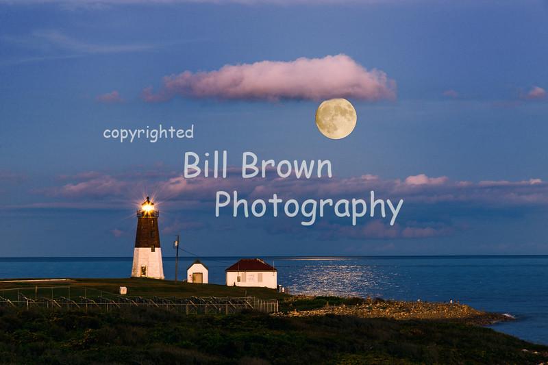 Point Judith Light Sunset During Full Moon