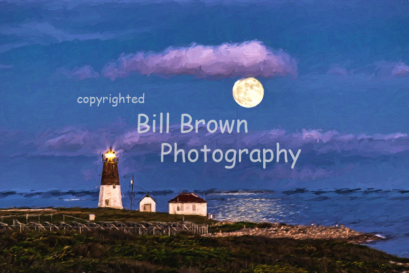 Point Judith Light with Moon