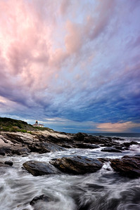 Cloudy Sky above Beavertail Light House, Jamestown, RI.