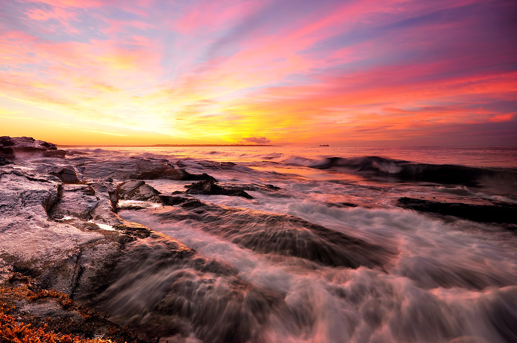Sunrise colors of Newport, Rhode Island.