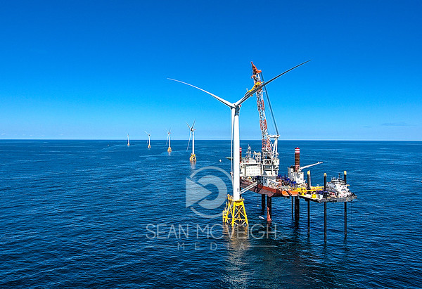 Drone Aerial of the Block Island Wind Turbines in RHode Island by Sean McVeigh Media